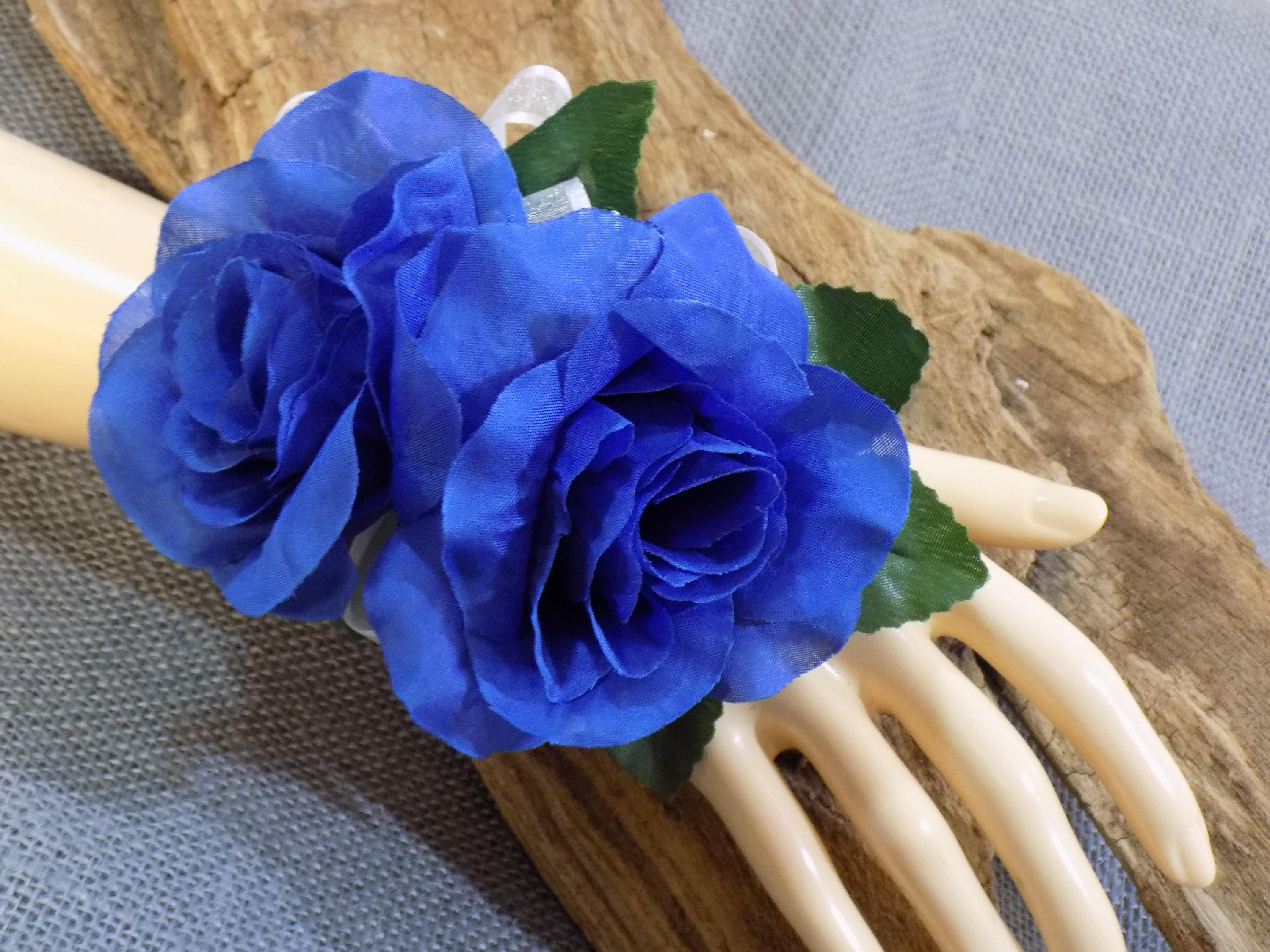 Wrist corsage blue silk roses flower corsage floral description beautiful blue silk rose flowers izmirmasajfo Gallery