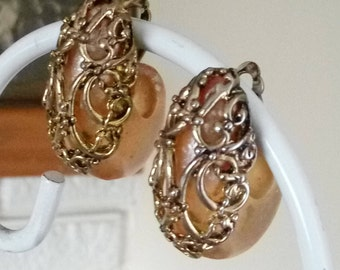 Unique Vintage Avant Garde Lucite and Goldtone Filigree Overlay Clip-on Earrings