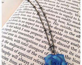 Mini Blue Rose Necklace