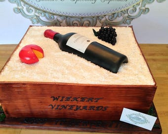 Fondant wine bottle, grapes and cheese