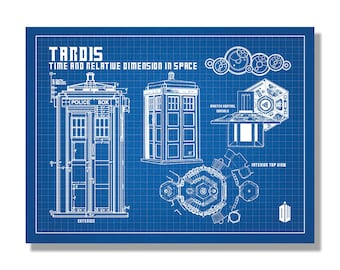 Doctor who art etsy doctor who tardis science fiction fantasy patent poster blueprint style screen print hand made wall art multiple colors malvernweather Images