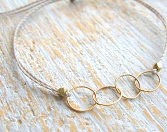 Gold Circle Bracelet, Gold String Bracelet, Gold Link Bracelet, Gold Bead Bracelet, Layered Bracelet