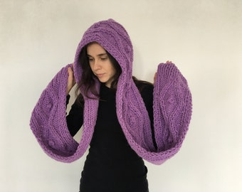 Hooded Scarf. Scarf. Hood, scarf hooded, Chunky scarf, Lavender Scarf, wool scarf