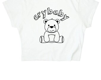 Crybaby Crop Top ∘ 90s Grunge ∘ Teddy Bear ∘ Kawaii ∘ Baby Girl ∘ Daddy ∘ White ∘ Womens Ladies ∘ S M L XL 2XL
