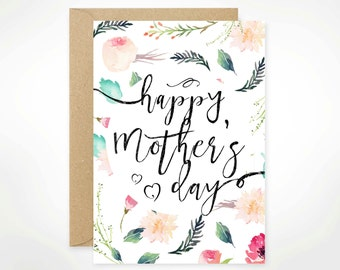 SALE! Happy Mother's Day, Printable, Mother's Day Card Printable, For Mom, Watercolour, Floral, Aunt, Stepmom, Nana