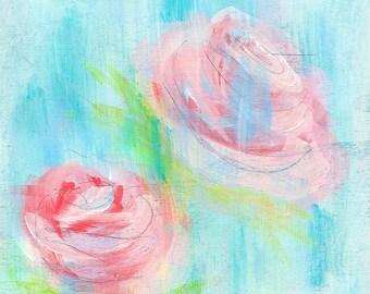 Verblasst Rosen Kunstdruck