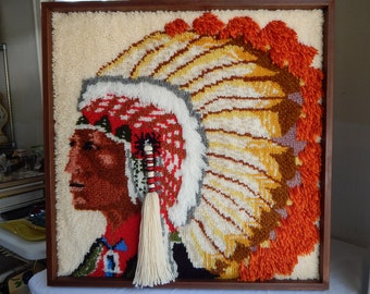Vintage Latch Hook Rug Native American Indian Chief Headdress Wall Hanging Tapestry