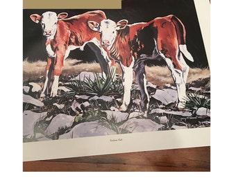 Jerry McAdams Art Print Pasture Pals Calves