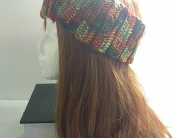 Free Shipping to US - Crochet Autumn Colored Ear Warmer Wrap - Adult Women