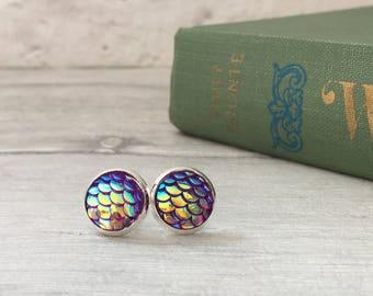 Purple mermaid earrings, statement jewelry mermaid party, mermaid cosplay, dragon earrings  dragon earring, stud earrings, mermaid etsyuk
