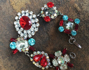 Red, Aqua, Grey Czech Vintage Rhinestone Button Bracelet, Repurposed Button Bracelet, Chunky Bracelet, MoniquesBijouxStudio