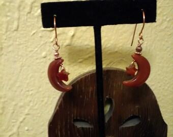 Red Agate Carnelian Moon and Star Earrings