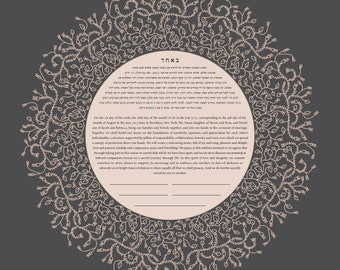 Contemporary Traditional Ketubah - Delicate Lace