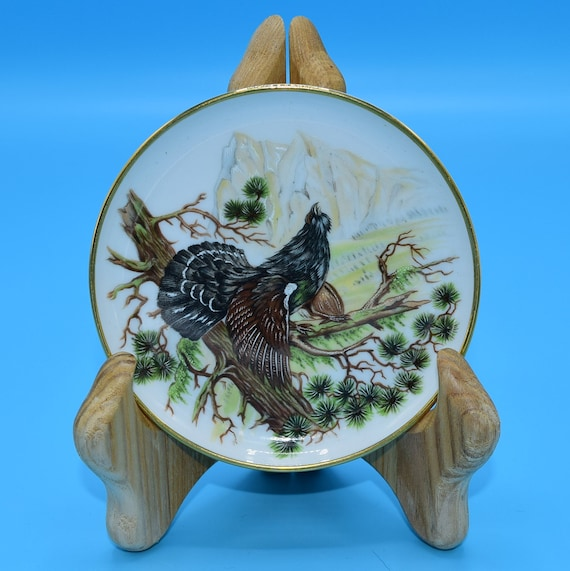 Kaiser Grouse Coaster Vintage Ceramic Wild Game Bird Butter Pat Plate Kaiser Germany Bird Collectible Bird Lover Gift for Him Fathers Day