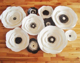 Paper Flower Anemones Set of 10 - Paper Flower Wall | Paper Flower Backdrop | Black and White | Paper Flowers | Paper Anemone | Anemone