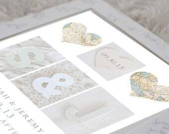 Wedding Map Heart - Initials Wedding Print, Paper Anniversary Present, Couples Monogram Present, Couples Date Print, Couples Monogram Print