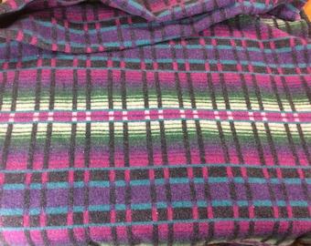 Gorgeous reversible purple black pink teal and green Pearce Woolrich blanket