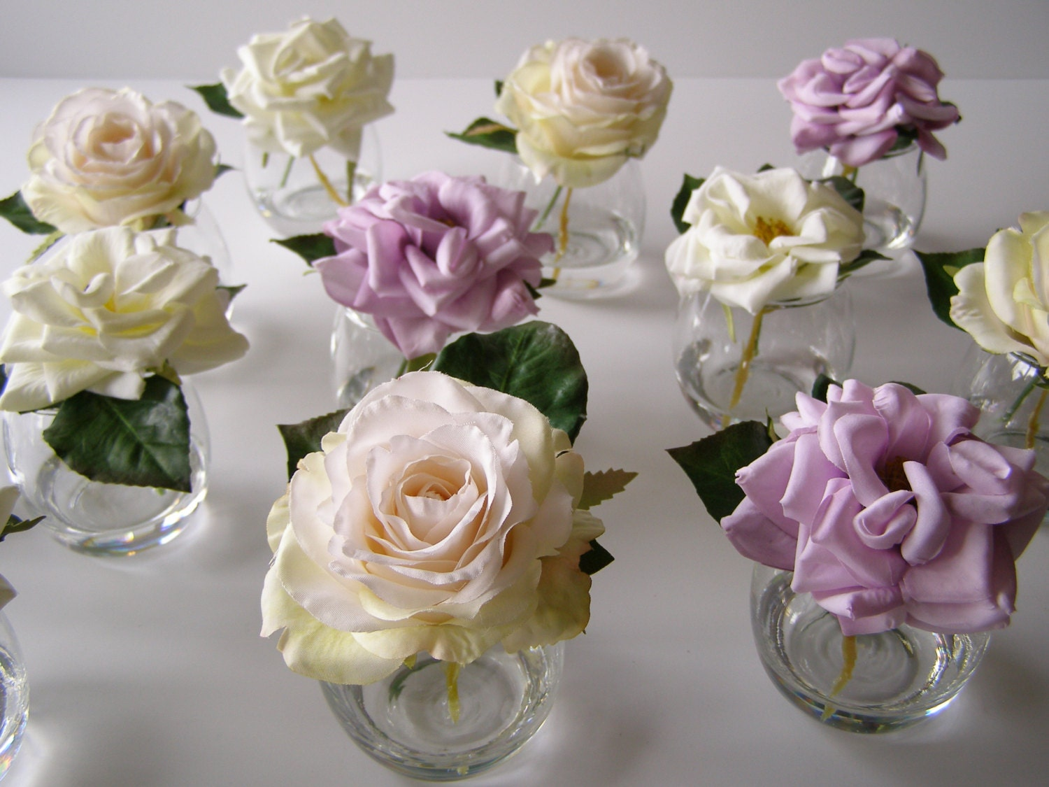 Purple white silk roses small glass vase silk flower zoom floridaeventfo Images