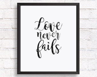 Quote prints, Printable wall art, Inspirational quote, home decor, Love never fails, print quotes, typography quote, Printable gift