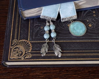 Pale ice blue Velvet Ribbon Bookmark - with silver charms and beads, booklover's gift, mother's day gift