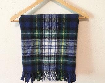 Vintage Virgin Wool Plaid Throw Blanket