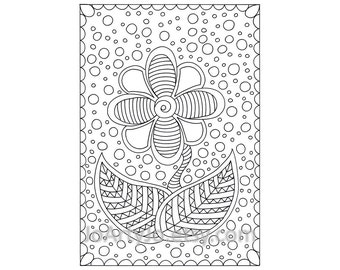 Childrens Flower Zendoodle Coloring Page PDF, Page 67, Printable Instant Download