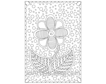 Zendoodle Flower Children's Coloring Page PDF, Page 67, Printable Instant Download
