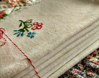 Set of Six Vintage Embroidered Napkins