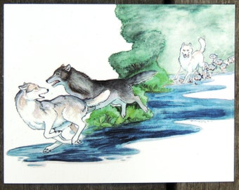 Silly MoonMoon wolf and the Amazon Werewolves of Creation Postcard
