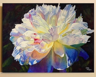 White Peony Art Watercolor Painting Canvas Print by Cathy HIllegas, 18x24 canvas art, watercolor peony, watercolor flowers, gifts for mom