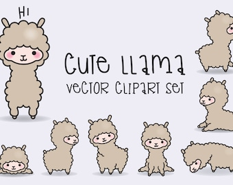 Premium Vector Clipart - Kawaii Llamas - Cute Llama Clipart Set - High Quality Vectors - Instant Download - Kawaii Clipart