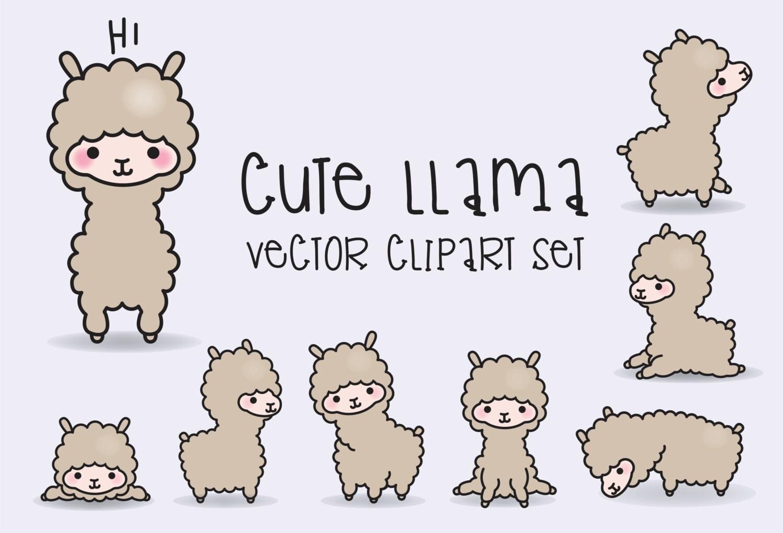 Premium Vector Clipart Kawaii Llamas Cute Llama Clipart