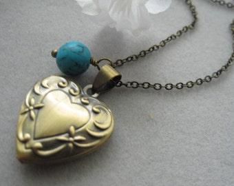 Antique Bronze Heart  Locket, Antique Bronze necklace, Turquoise bead,