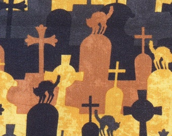 Halloween Fabric, Come Sit A Spell, Graveyard Scenes, Black Cats, Black & Orange, Gravestones, Wilmington Fabrics, By the Yard, Cotton Fabri