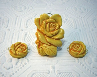 Yellow Rose Pendant Focal Bead plus Two Matching Beads