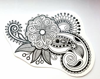 Floral Paisley Temporary Tattoo