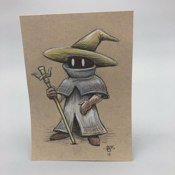 Original Black Mage drawing on 80lb Toned Paper // 5x7 inches // ink and prisma color // Final Fantasy // original art