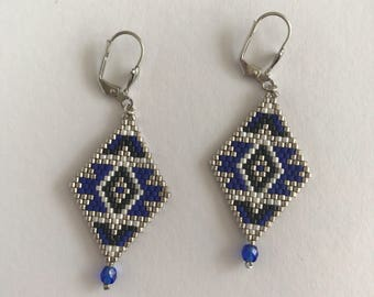 Blue and silver diamond earrings