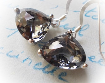 Silver earrings with black diamond glass faceted drops fancy trillion cut 925 sterling elegant little dainty small grey gray crystal clear