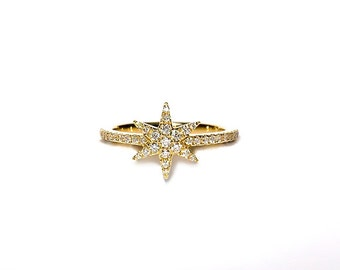 18K Diamond Star Pinky/Midi Finger Ring