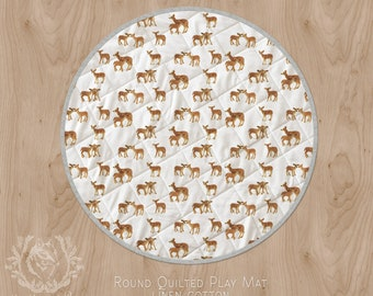 Baby Play Mat. Fawn Linen Cotton Wholecloth Quilt Circle Rug Deer Fawn Nursery Mum and Baby Print. Ships in 4-6 wks