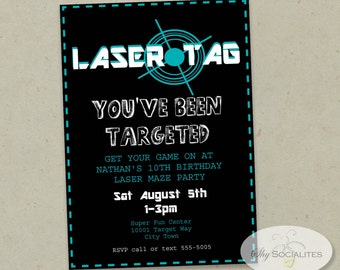Black Laser Tag Invitation | Laser tag birthday, laser party, sports party, boys birthday, laser maze | INSTANT DOWNLOAD Editable text pdf
