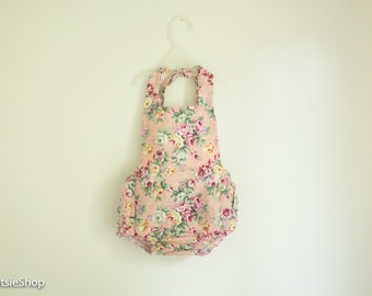 Pink Baby Girl Cotton Floral Ruffle Romper, Toddler Romper, Baby Sunsuit, Vintage Romper, Cake Smash, Birthday Outfit