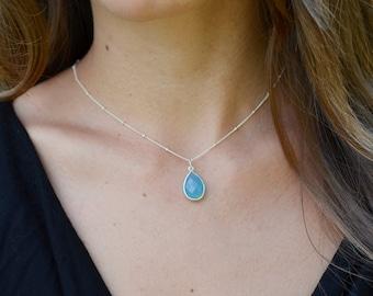 Sky Blue Chalcedony Pendant, Gold or Silver Chalcedony Necklace, Beaded Chain Necklace, 14kt Gold Fill, Blue Chalcedony Teardrop