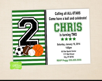 All Star Sports Invitation - Sports Birthday Invite - Sports Party Invitation - Digtal & Printed Available