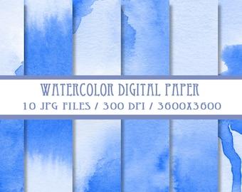 Blue Watercolor Digital Paper ( Instant Download )