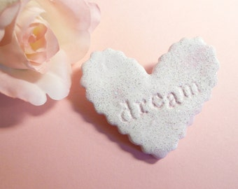 Dream Heart Pin, Pink Heart Brooch, Sparkly Pin, Word Dream, Inspiration Pin, Inspiration Brooch, Handmade Polymer Clay