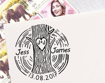 Custom Save The Date Stamp, Personalized Round Stamp, Wood Mounted Rubber Stamp, Invitation Stamp, Rustic Wedding Stamp Tree Stamp HS236P