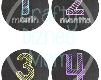 Baby Monthly PRINTABLE Stickers Chalkboard-Instant Download