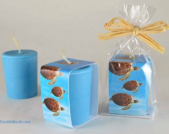 Turtle Candle Hawaiian Favor Gift Honu Green Sea Turtle Pacific Ocean Favor Blue Extra Large Votive 3 ounce Round Turtle Lover Gift Unique